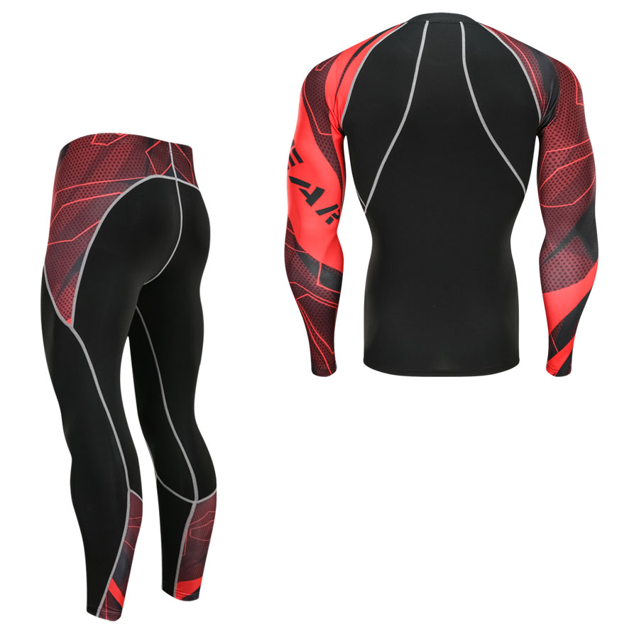 Men's Youth  Fitness Compression Sets T Shirt Men 3D Printed MMA Crossfit Muscle Shirt Leggings Base Layer Tight Tops