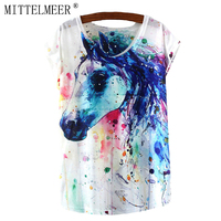 2016 Brand New Polyester T Shirt Women Short Sleeve T Shirts O Neck Causal Loose Print