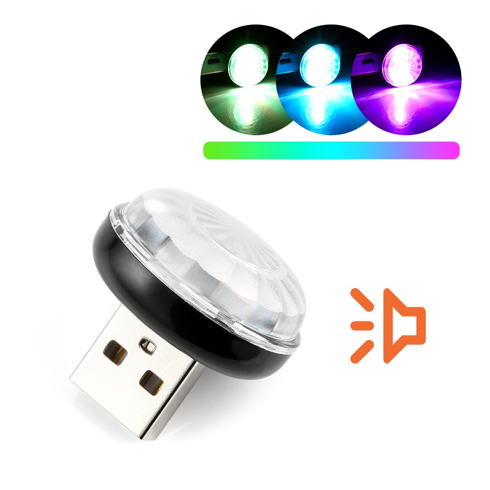LED Car USB Atmosphere Light DJ RGB Mini Colorful Music Sound Lamp USB-C Phone Ampoule Festive Atmosphere Dynamic Lamp