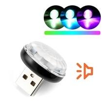 LED 자동차 USB 분위기 빛 DJ RGB 미니 다채로운 음악 사운드 램프 USB C 전화 Ampoule 축제 분위기 동적 램프