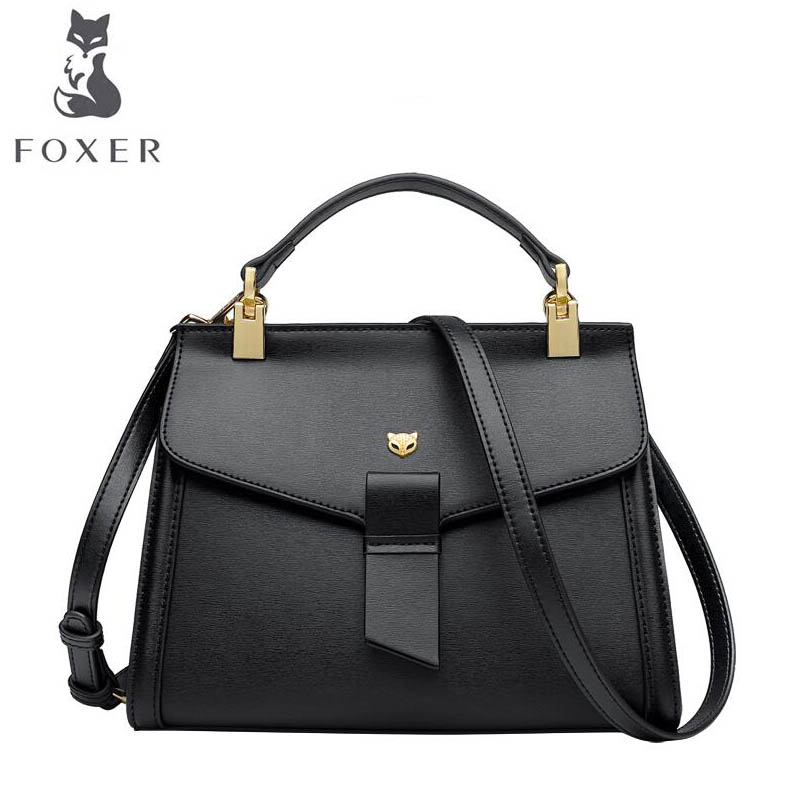 FOXER 2018 New Women leather bag designer famous brand leather women Cowhide bag Casual Cowhide fashion leather shoulder bag foxer 2017 new brand women leather bag fashion casual wild women leather handbags shoulder bag quality cowhide small bag
