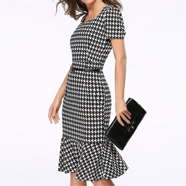 Women Elegant Slimming Work Office Dresses Ladies Houndstooth Knee-Length Mermaid Summer Pencil Bodycon Party Sexy Bodycon S153