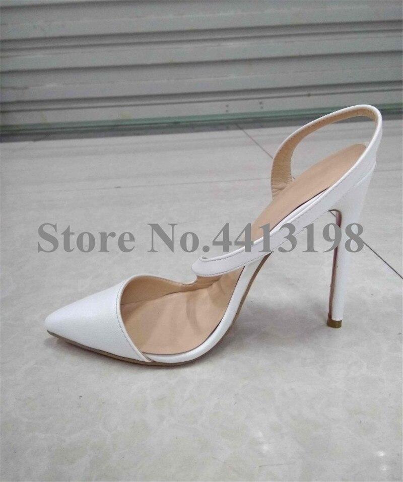 Модные весенние вечерние туфли лодочки белого цвета с острым носком на очень высоком тонком каблуке, женские туфли лодочки, повседневная женская обувь без шнуровки на высоком каблуке с открытой спиной - 5