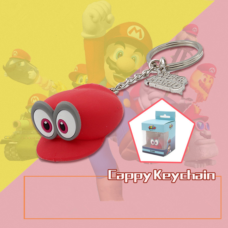 Anime Super Mario Cappy Key Chain Key Ring Kids Toy Pendant Keychain Key Cap Hat Modelling Package chain Christmas Gift With Box