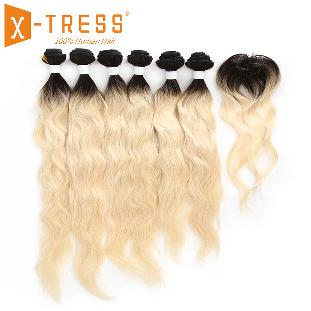 X-TRESS Peruvian Natural Wave Human Hair Weave 6 Bundles With Closure Ombre Black Blonde 613 Color Non-Remy Hair Weft Extensions