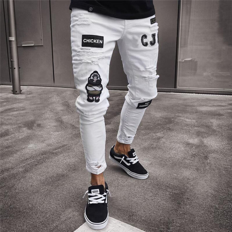 Men's Fashion Vintage Ripped Jeans Super Skinny Slim Fit Zipper Denim Pant Destroyed Frayed Trousers Cartoon Gothic Style Pants