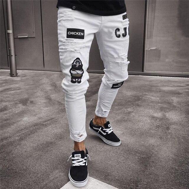 Мужская мода Винтаж рваные джинсы супер узкие Slim Fit на молнии джинсовые штаны рваные потертые мотобрюки мультфильм Готический стиль