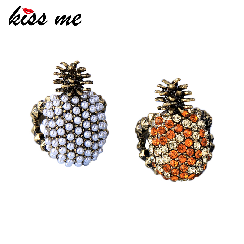 KISS ME 2 Colors Imitation Pearl Rhinestone Pineapple Rings for Party Antique Gold Color Vintage Rings Women Accessories