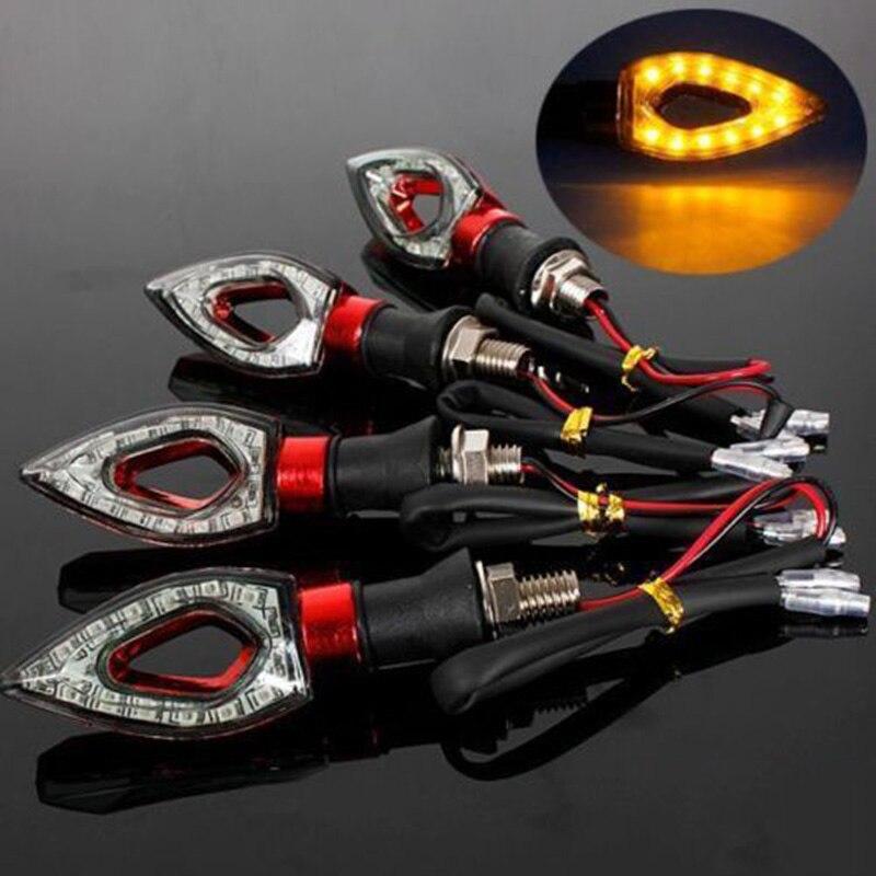 12 LED Turn Signal Motorcycle Light Amber Blade Lamp Indicator Blinker Universal Flashing Moto Bike Lights/lamps