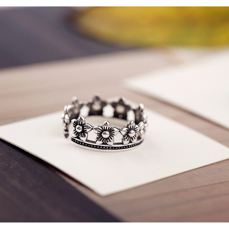 SHUANGR Antique Silver Color Flower Shape Opening Finger Rings For Women Do The Old Hollow Lady Vintage Personality Jewelry