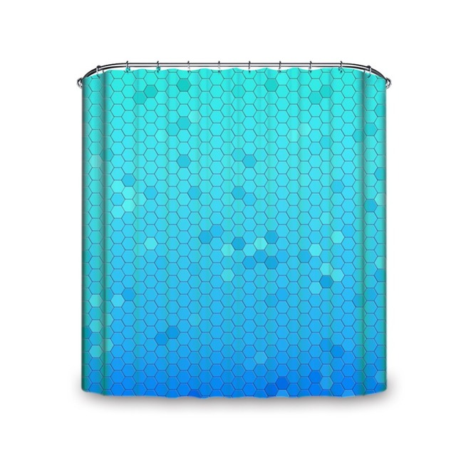 Blue Hexagon Pattern Machine Washable Alternatives Size Shower Curtain With Multiple Hooks Waterproof And Mould Proof