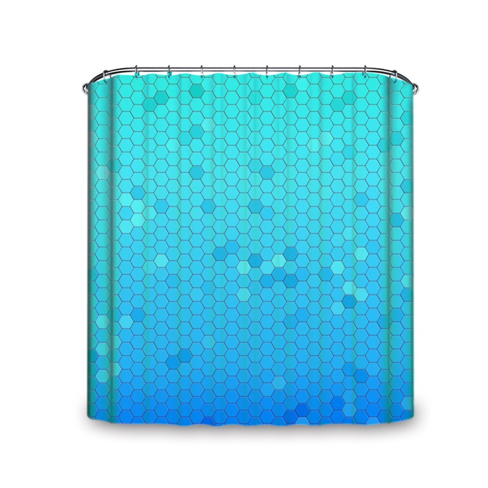 blue hexagon pattern machine washable size shower curtain with multiple hooks waterproof and mould proof home decor
