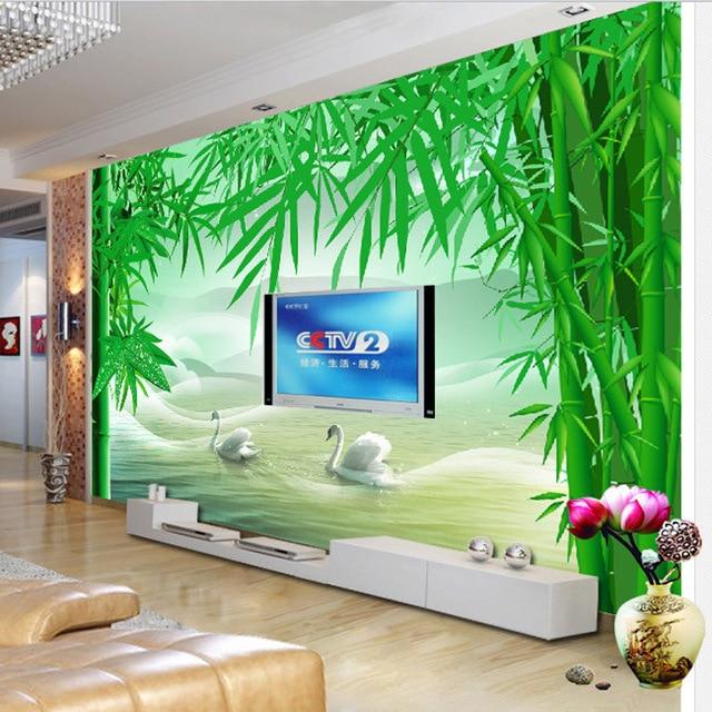 ShineHome Große Eigene 3d Tapeten Bambus Grüne Wand Wandmalereien ...