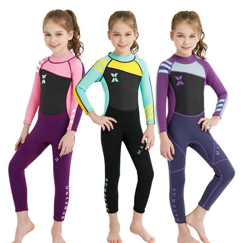 Kind Een stuk Duikpak 2.5mm Surfen Wetsuit Kids Neopreen Thermische Badpak Wetsuits voor Duiken Zwemmen Surfen
