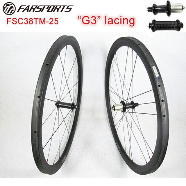 b39dc8d2b64 Farsports 700C 38mm deep carbon bicycle wheels 25mm tubular wheels