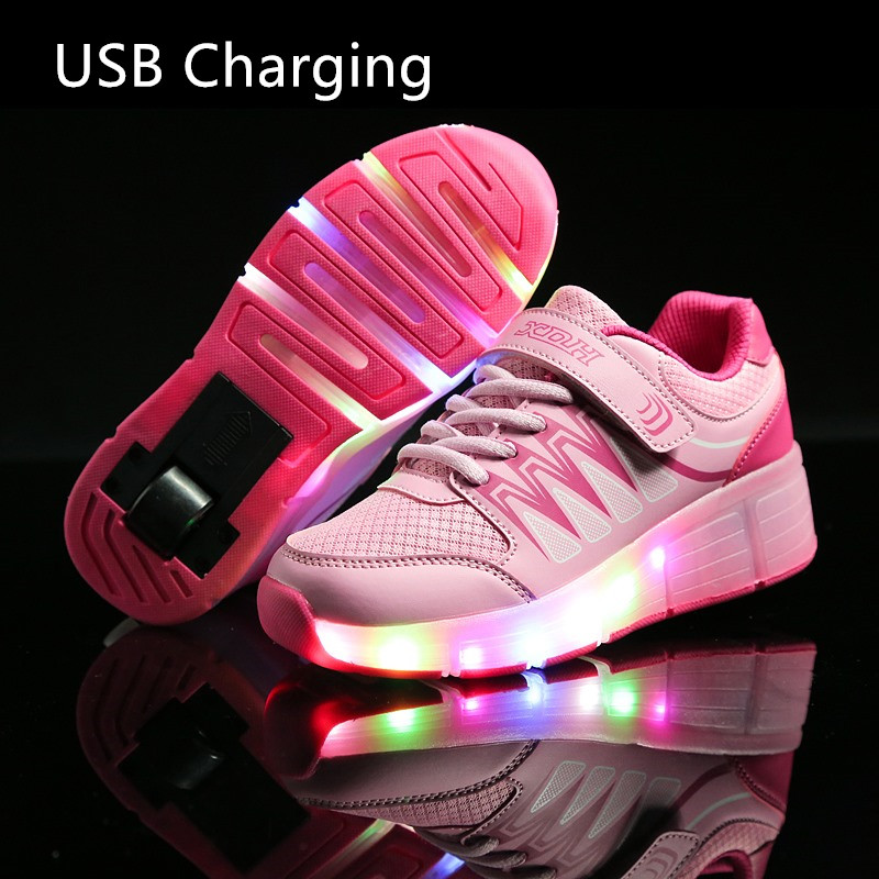 New Children USB Charging Girls Boys LED Light Roller Skate Shoes For Children Kids Sneakers With Wheels pink Blue one wheels