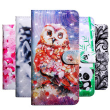 Case For Xiaomi Mi 8 Lite Cases Luxury 3D Leather Flip Wallet Phone Cover on For xiaomi mi8 lite Coque Cat Dog Owl Capa(China)