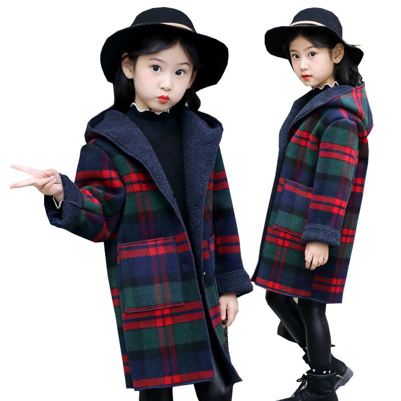 Kids Jackets for Girls Wool Coat Jacket Winter Thick Fleece Hooded Teenage Girls Plaid Coat Outerwear Girls Costume 10 12 Years