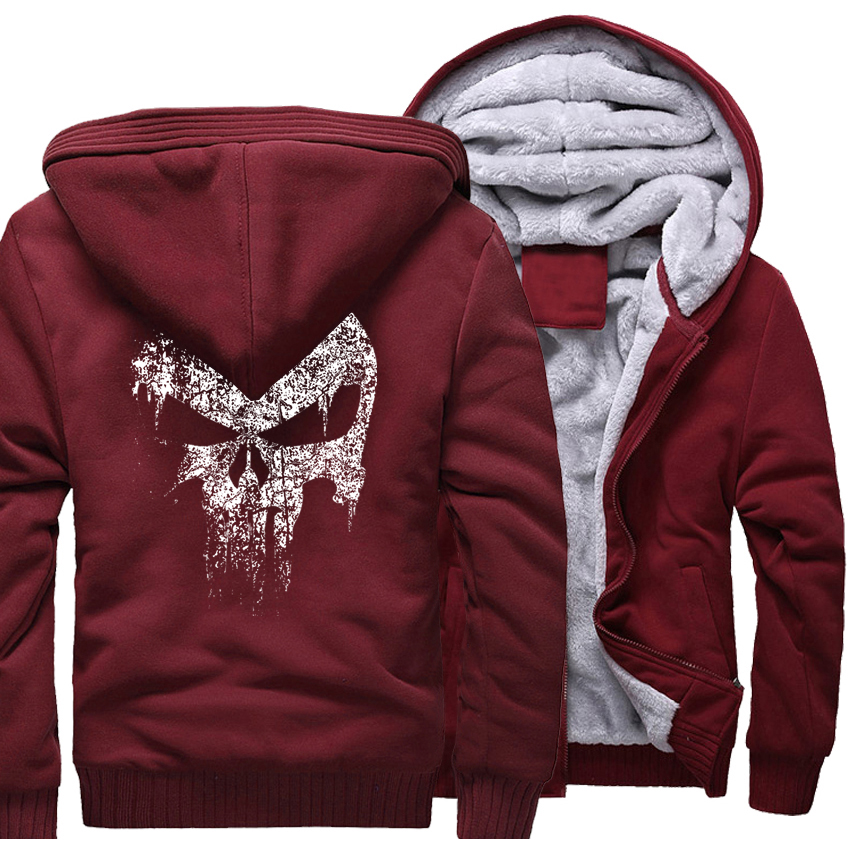 Men's Sportswear Harajuku Hoody 2018 Winter Fleece High Quality Thick Hoodies For Men Sweatshirt Print The Punisher Skull Punk