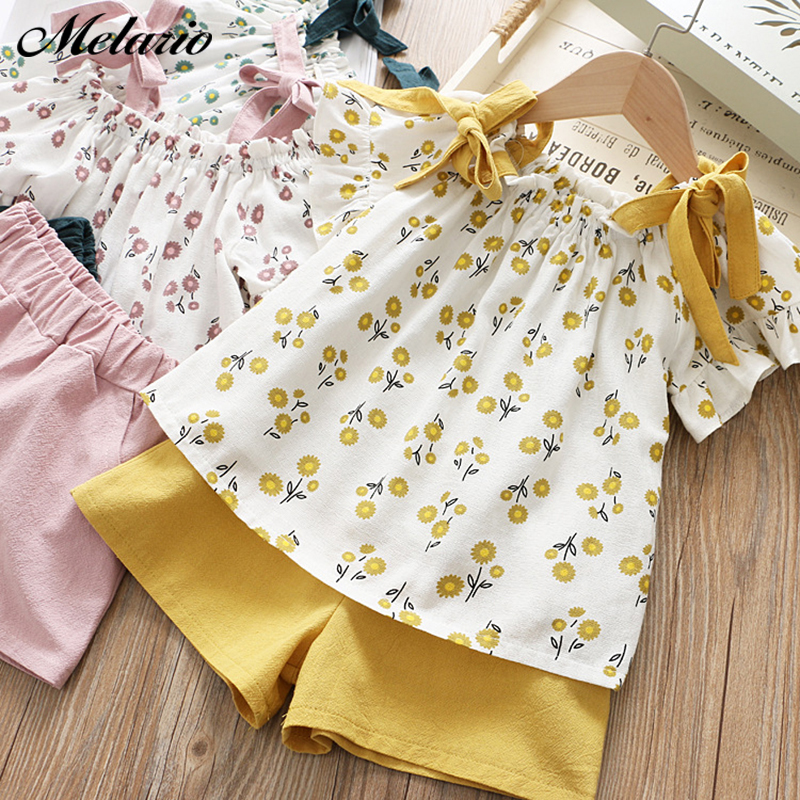 Melario Casual Girls Clothing Sets Summer Kids Clothing Sets Sleeveless floral T-shirt shorts 2Pcs Suit Bow Children Girls Suit