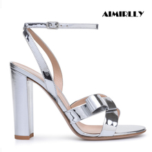 Aimirlly Elegant Women Shoes Open Toe Block Heel Sandals Slingback Buckle Strap Ladies Summer Casual Heels Silver