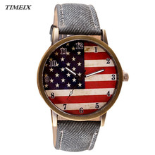 New Design Women Watch American Flag Pattern Leather Band Analog Quartz Vogue Wrist Watches Casual Watches Female,Jan 16*50