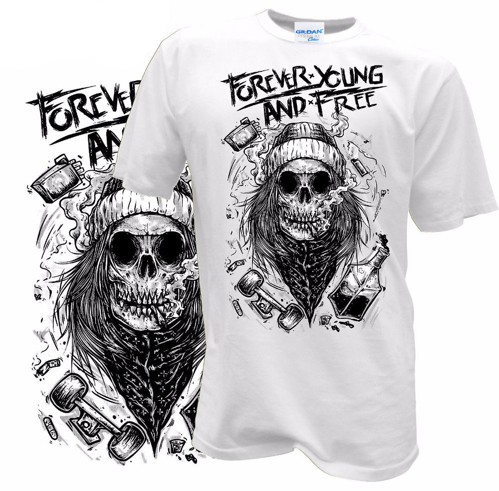 Summer Fashion Teen O-Neck T Shirt Forever Young And Free Skull Biker Retro Tattoo Hipster Photo T Shirts White Style