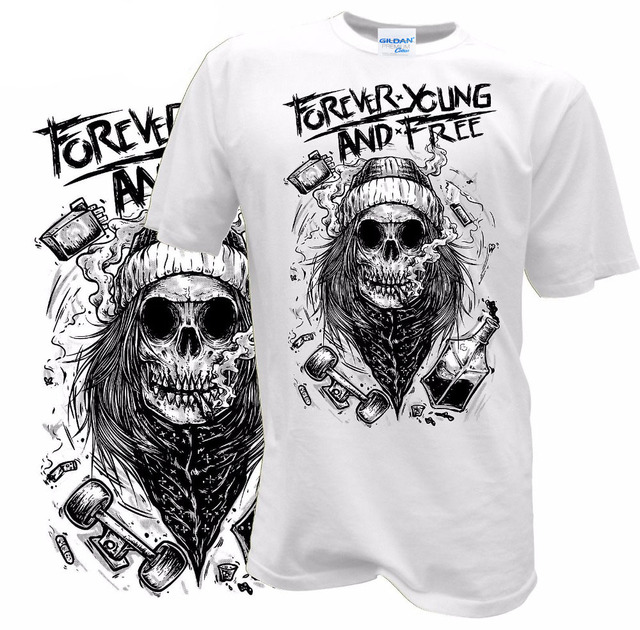 b1fdcd53 Summer Fashion Teen O-Neck T Shirt Forever Young and Free Skull Biker Retro  Tattoo Hipster photo t shirts White Style