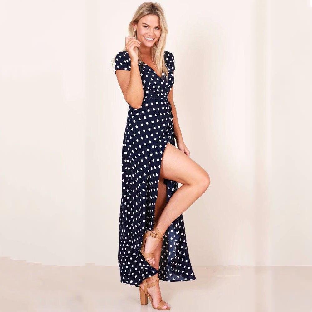 2094e4596c3 Летние женское длинное платье для Для женщин красно-белая точка пляжные Sexy  Глубокий V шеи