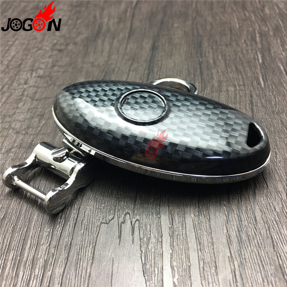 Carbon Fiber Look Smart Remote Key Fob Case Bag Shell Holder Key Chain Ring Cover For Nissan Sylphy Sentra 2007- 2016