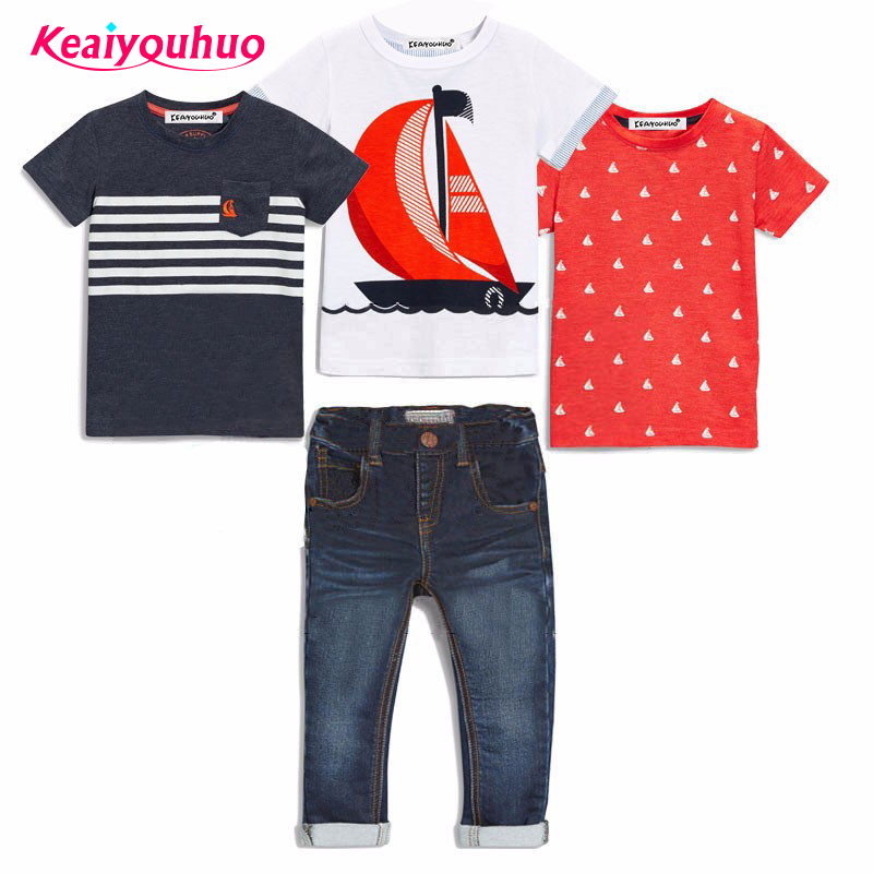 summer children girl clothing set 3piece short-sleeved T-shirt +jeans baby girl boys fashion cartoon costume kids clothing set european and american style brand children s clothing children summer cotton short sleeved t shirt baby girls t shirt 50158