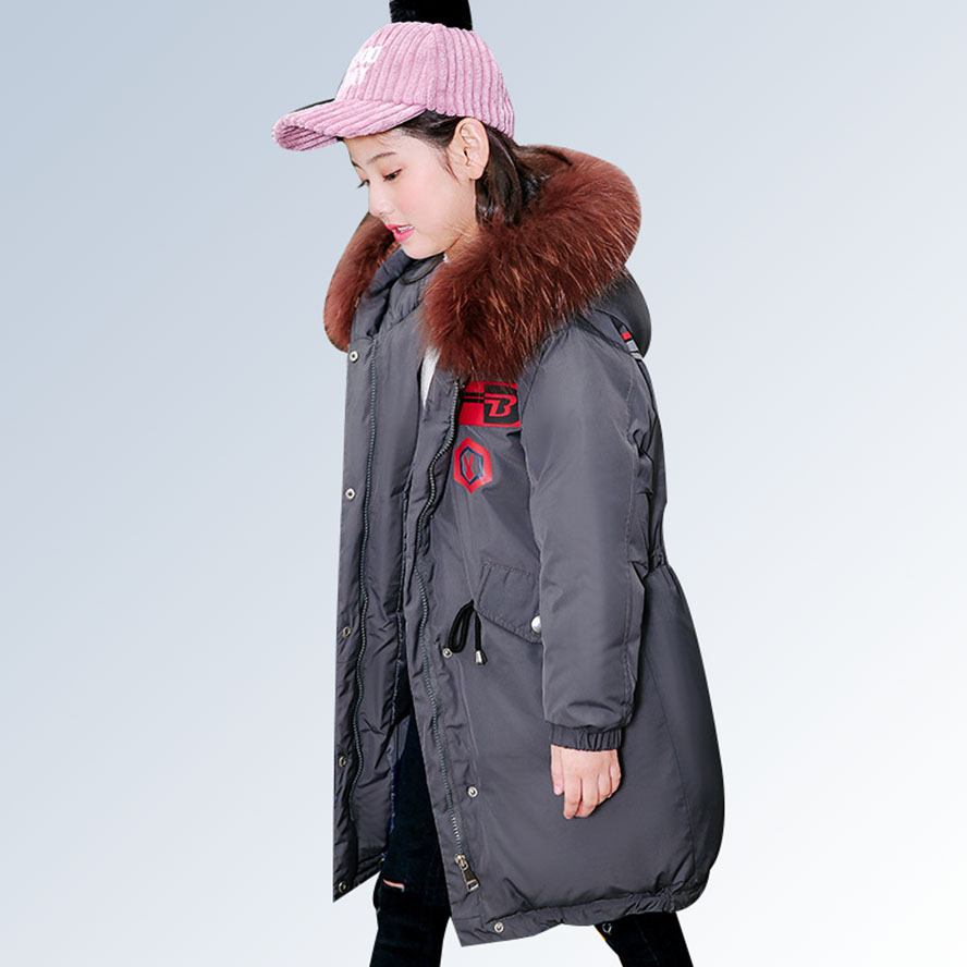 Girl Winter Coat Parka Kids Winter Jacket 2018 Children Winter Jacket Warm Thick Fur Collar Hooded Long Down Coat Teen Outerwear new fashion print 2017 winter women down cotton medium long jacket parka female hooded fur collar size m 3xl outerwear coatcq560