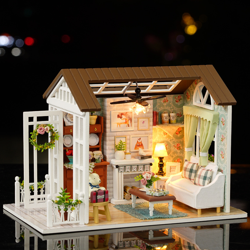 LED Light Miniature Furniture Doll House Dollhouse DIY Kit Wooden House Puzzles Model Toy for Kids Birthday Christmas Gifts (10)