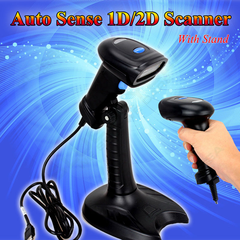 Portable Handheld 2D Barcode Scanner USB QR Code PDF417 Reader Wired Scanner Bar Code Auto Sense 2D Mobile Scanner W/Holder supermarket 2d barcode scanner handheld 2d code scanner bar code reader qr code reader usb interface zd5600 bar code scanner