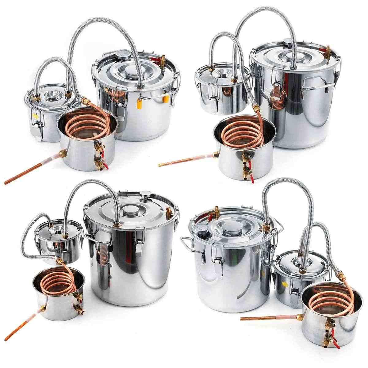 2/3/5/8 галлонов DIY домашний дистиллятор для пивоварения Самогонный спирт из нержавеющей меди Вода Вино эфирное масло пивоварения набор с Кули
