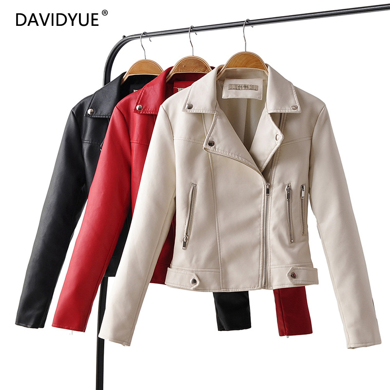 White Leather Jacket Women Long Sleeve Zipper Chaqueta Mujer Coat Black PU Biker Jacket Turn Down Collar Modis Clothes