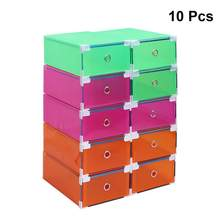 10PCS Storage Clear Drawer Shoe Boxes Stackable Foldable Shoes Case Home Wardrobe Thicken Shoebox with Metal Package(China)