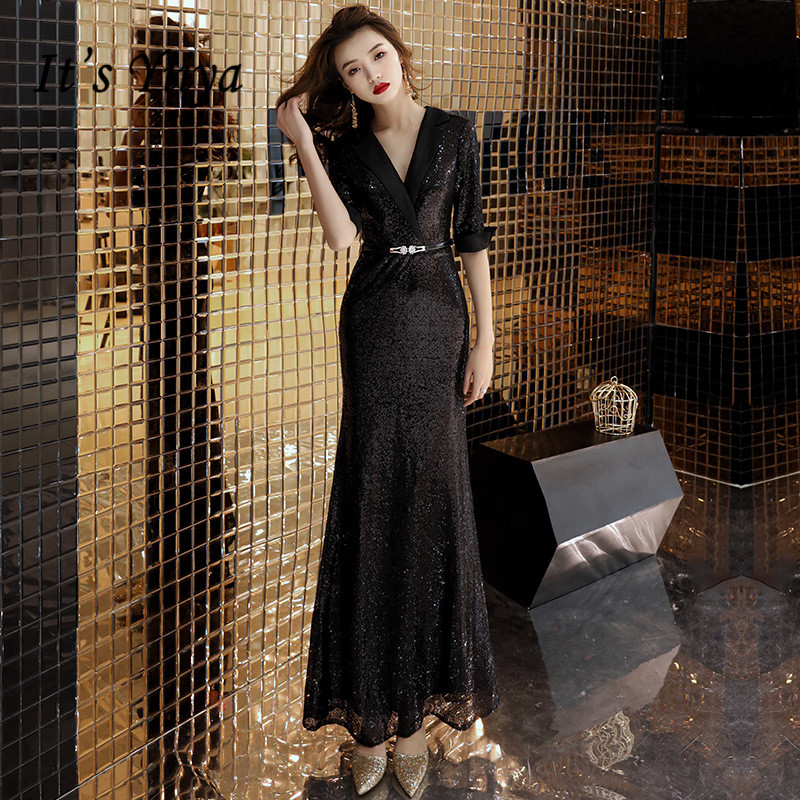 It's YiiYa   Evening     Dress   Black Full Sequins Shining Elegant Formal Trumpet   Dresses   Sexy V-neck Half Sleeve Long Party Gown E092