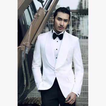 2019 High Quality 2 pieces White Mens Suits Groom men suit Tuxedos Groomsmen Wedding Party Dinner Best Man Suits (Jacket+Pants)