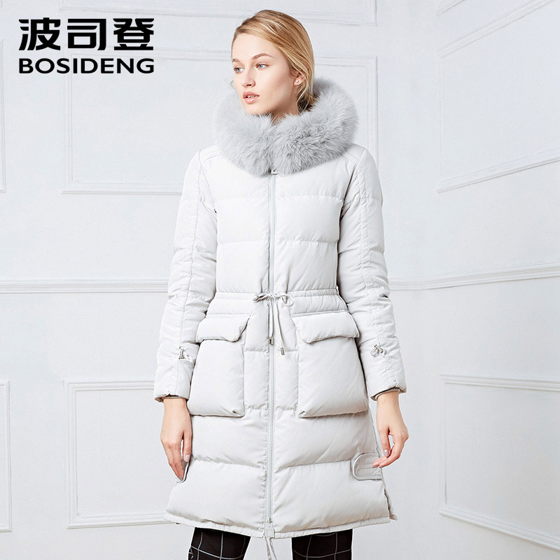 BOSIDENG winter women   down     coat   LONG winter thickening   down   jacket real fox fur warm outwear hooded thicken light soft B1601246