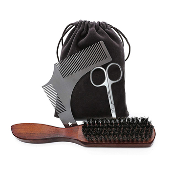 Beard Massage Grooming Set with Bag-Metal Modeling Comb Wild Boar Bristle Brush Stainless Steel Scissor Beard Timming Kit 1