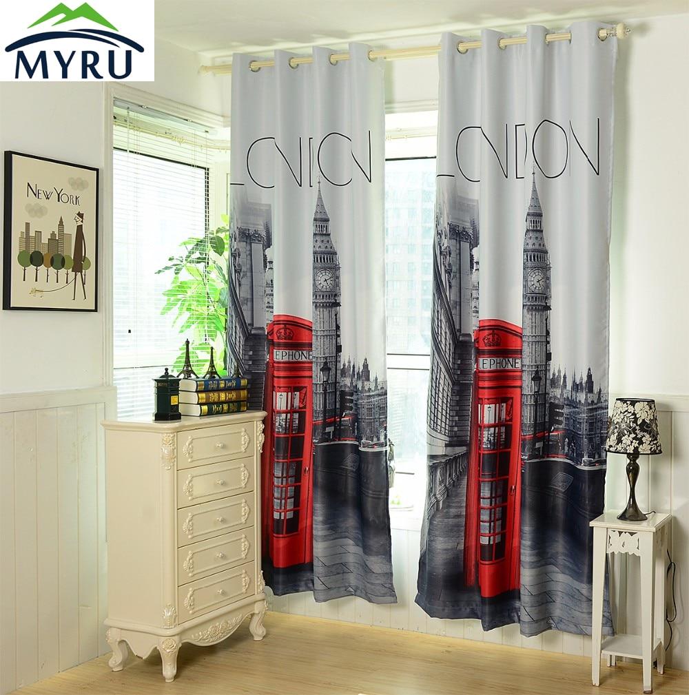 MYRU 1.4x2.6 m 3D britânico REINO UNIDO londres cortinas blackout cortinas cortinas do quarto barato frete grátis