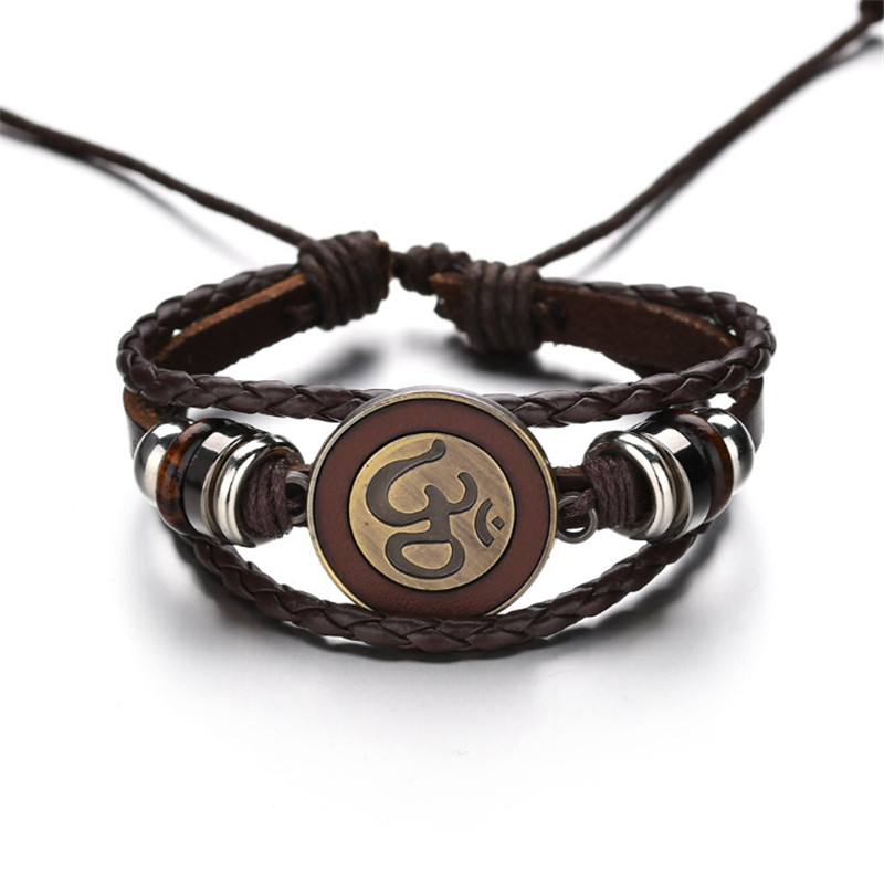 Black Brown Rope Chain Leather Bracelets With Antique Gold Om Ohm aum Charm Adjustable Bracelet Bangle for Men Women Jewellery in Chain Link Bracelets from Jewelry Accessories