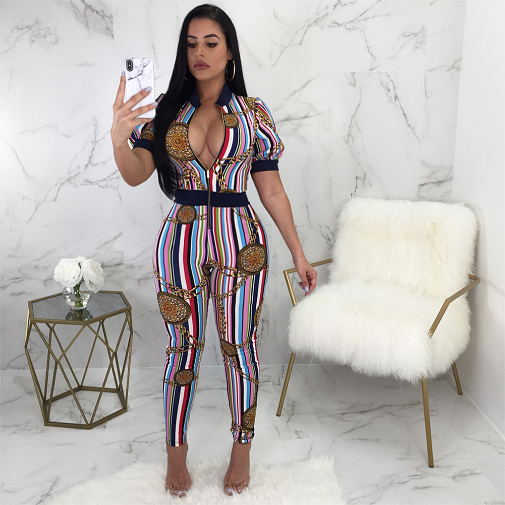 Women African Print Jumpsuit Chain Colorful Striped Print Zipper Combinaison  Femme Short Sleeve Jumpsuit Bodycon Night Clubwear-in Jumpsuits from  Women s ... fd911ddc22d