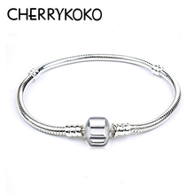 CHERRYKOKOClassic 925 Sterling Silver Bracelet Simple Design Snake Chain Fit European Bracelets Bangles Charms Women Femme JCL18