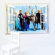 Disney Olaf Sven Kristoff Hans Anna Elsa 3Dview Frozen Wall Stickers Home Decor Anime Mural Art Kids Room bedroom Accessories