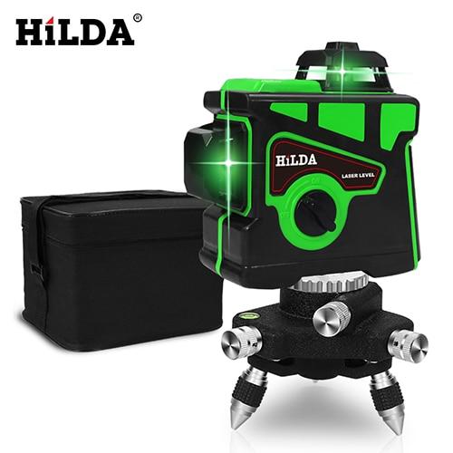 HILDA лазерный уровень 12 линий 3D уровень самонивелирующийся 360 горизонтальный и вертикальный крест супер мощный зеленый лазерный уровень - Цвет: SET2