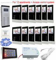 12 единиц видеодомофон цветной 4,3 ЖК объектив CCD домофон камера с rfid клавиатурой контроль доступа жилые системы безопасности