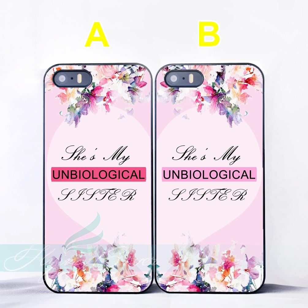 Coque Unbiological Soeur Meilleur Ami Couple Cas pour iPhone X 8 8 Plus 7 6 6 S Plus SE 5S 5C 5 4S 4 Cas pour iPod Touch 6 5 couverture