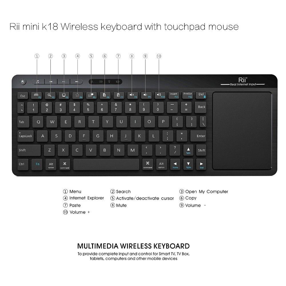 [Подлинный] Rii K18 Английский Русский 2.4 г мини Беспроводной муха воздуха клавиатура мышь сенсорная панель для ПК HTPC IP ТВ Smart Android ТВ коробка